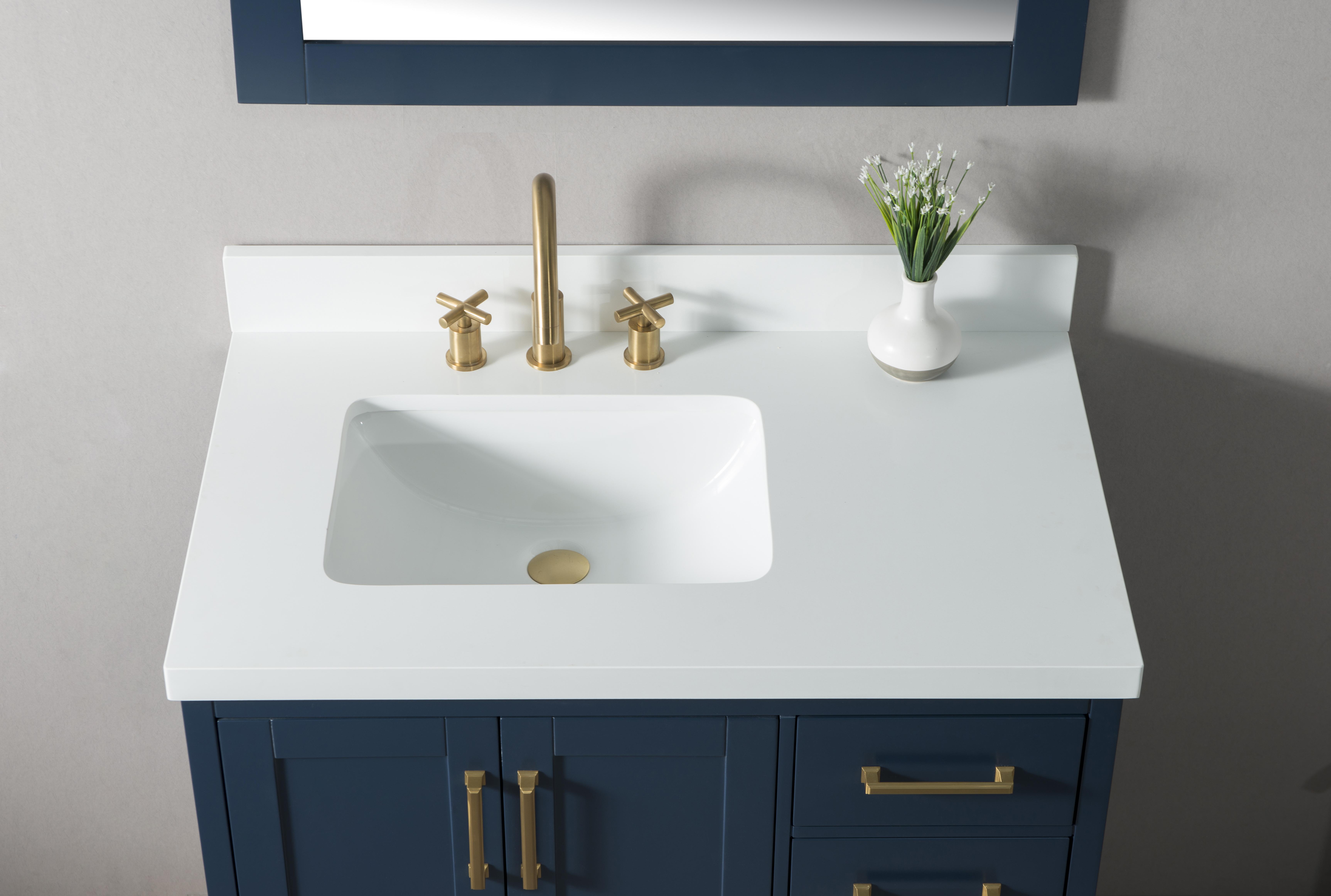 Manhattan 36 Inch Single Sink Navy Blue Bathtroom Vanity Cabinet Milan Gallery Bathroom Vanities Best Selection Bathroom Vanities In Los Angeles