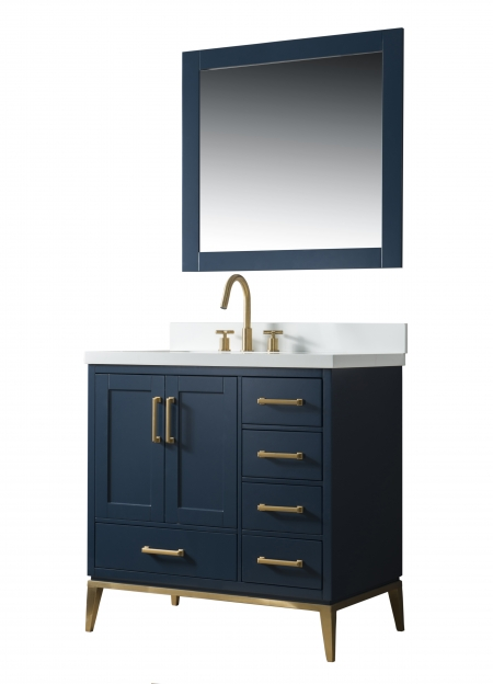 Manhattan 36 Inch Single Sink Navy Blue Bathtroom Vanity